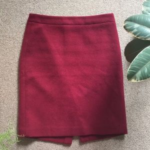 J.Crew Factory Wool Burgundy Pencil Skirt